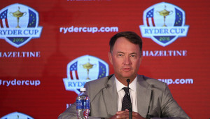 CHASKA, MN - SEPTEMBER 29:  Davis Love III, US Ryder Cup Captain, addresses the media during the 2016 Ryder Cup Captains' Press Conference at Hazeltine National Golf Club on September 29, 2015 in Chaska, Minnesota.  (Photo by Andrew Redington/Getty Images)