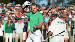 AUGUSTA, GEORGIA - APRIL 10:  Danny Willett of England reacts after finishing on the 18th green during the final round of the 2016 Masters Tournament at Augusta National Golf Club on April 10, 2016 in Augusta, Georgia.  (Photo by Andrew Redington/Getty Images)