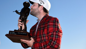 HILTON HEAD ISLAND, SC - APRIL 17:  Branden Grace of South Africa celebrates with the trophy after winning the 2016 RBC Heritage at Harbour Town Golf Links on April 17, 2016 in Hilton Head Island, South Carolina.  (Photo by Jared C. Tilton/Getty Images)