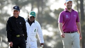 AUGUSTA, GA - APRIL 09:  Gary Player of South Africa and Branden Grace of South Africa look on during a practice round prior to the start of the 2013 Masters Tournament at Augusta National Golf Club on April 9, 2013 in Augusta, Georgia.  (Photo by Harry How/Getty Images)