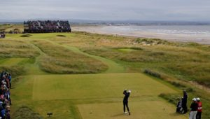 TROON, SCOTLAND - JULY 17:  Charl Schwartzel of South Africa tees off on the 5th hole during the final round on day four of the 145th Open Championship at Royal Troon on July 17, 2016 in Troon, Scotland.  (Photo by Kevin C. Cox/Getty Images)