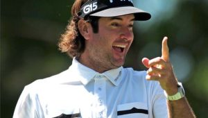 Bubba Watson laughs after causing photographers and fans to snap pictures as he faked a drive from the 18th tee box during the 2011 Wells Fargo Championship Pro-Am at Quail Hollow Club in Charlotte, North Carolina, on Wednesday, May 4, 2011. (Jeff Siner/Charlotte Observer/MCT via Getty Images)