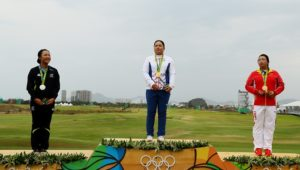 RIO DE JANEIRO, BRAZIL - AUGUST 20:  (L-R) Silver medalist, Lydia Ko of New Zealand, gold medalist, Inbee Park of Korea and bronze medalist Shanshan Feng of China pose on the podium during the medal ceremony for Women's Golf on Day 15 of the Rio 2016 Olympic Games at the Olympic Golf Course on August 20, 2016 in Rio de Janeiro, Brazil.  (Photo by Scott Halleran/Getty Images)