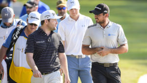 PONTE VEDRA BEACH, FL - MAY 12:  (R-L) Jason Day of Australia, Jordan Spieth, and Branden Grace of South Africa speak on the 11th hole during the first round of THE PLAYERS Championship on THE PLAYERS Stadium Course at TPC Sawgrass on May 12, 2016. (Photo by Chris Condon/PGA TOUR)