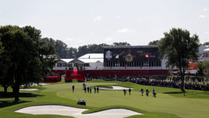 CHASKA, MN - SEPTEMBER 27: A general view during practice prior to the 2016 Ryder Cup at Hazeltine National Golf Club on September 27, 2016 in Chaska, Minnesota.  (Photo by Streeter Lecka/Getty Images)