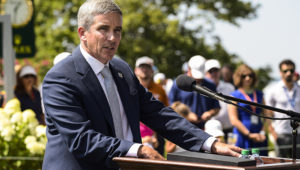 EDISON, NJ - AUGUST 25:  PGA TOUR Deputy Commissioner Jay Monahan speaks at a military appreciation event during practice for The Barclays at Plainfield Country Club on August 25, 2015 in Edison, New Jersey. (Photo by Chris Condon/PGA TOUR)