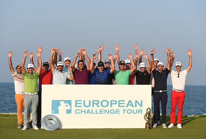 MUSCAT, OMAN - NOVEMBER 05: The 2016 Challenge Tour Graduates pose for photographs on day four of the NBO Golf Classic Grand Final at Al Mouj Golf on November 5, 2016 in Muscat, Oman. (Photo by Tom Dulat/Getty Images)