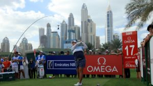 DUBAI, UNITED ARAB EMIRATES - DECEMBER 10:  Shangshan Feng of China plays her tee shot on the 17th hole during the final round of the 2016 Omega Dubai Ladies Masters on the Majlis Course at the Emirates Golf Club on December 10, 2016 in Dubai, United Arab Emirates.  (Photo by David Cannon/Getty Images)