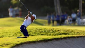 HONOLULU, HI - JANUARY 13:  Justin Thomas of the United States plays a shot on the 18th hole during the second round of the Sony Open In Hawaii at Waialae Country Club on January 13, 2017 in Honolulu, Hawaii.  (Photo by Sean M. Haffey/Getty Images)