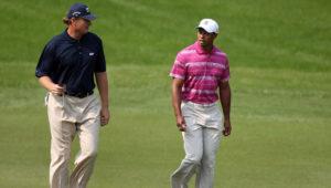 Ernie Els and Tiger Woods