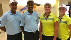Keyan Loubser, Rorisang Nkosi, Kiera Floyd and Jordan Rothman at the Himbara World Junior Golf Championship
