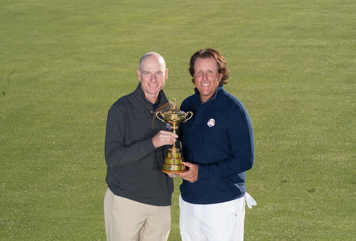 USA Ryder Cup Team Captain Jim Furyk poses with Phil Mickelson