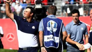 Rory McIlroy of Europe looks on