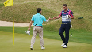 Louis Oosthuizen with Marc Leishman