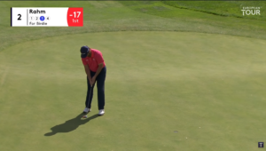 Jon Rahm putting for birdie