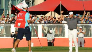 Lee Westwood wins the 2020 Abu Dhabi HSBC Championship.